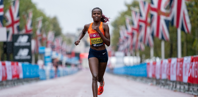 Brigid Kosgei wins the 2020 Virgin Money London Marathon