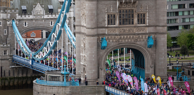 Runners on Tower Bridge at the Virgin Money London Marathon